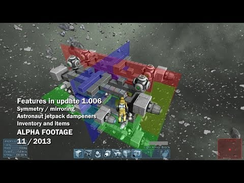 Space Engineers - Symmetry mode, astronaut jet pack dampeners, inventory and items