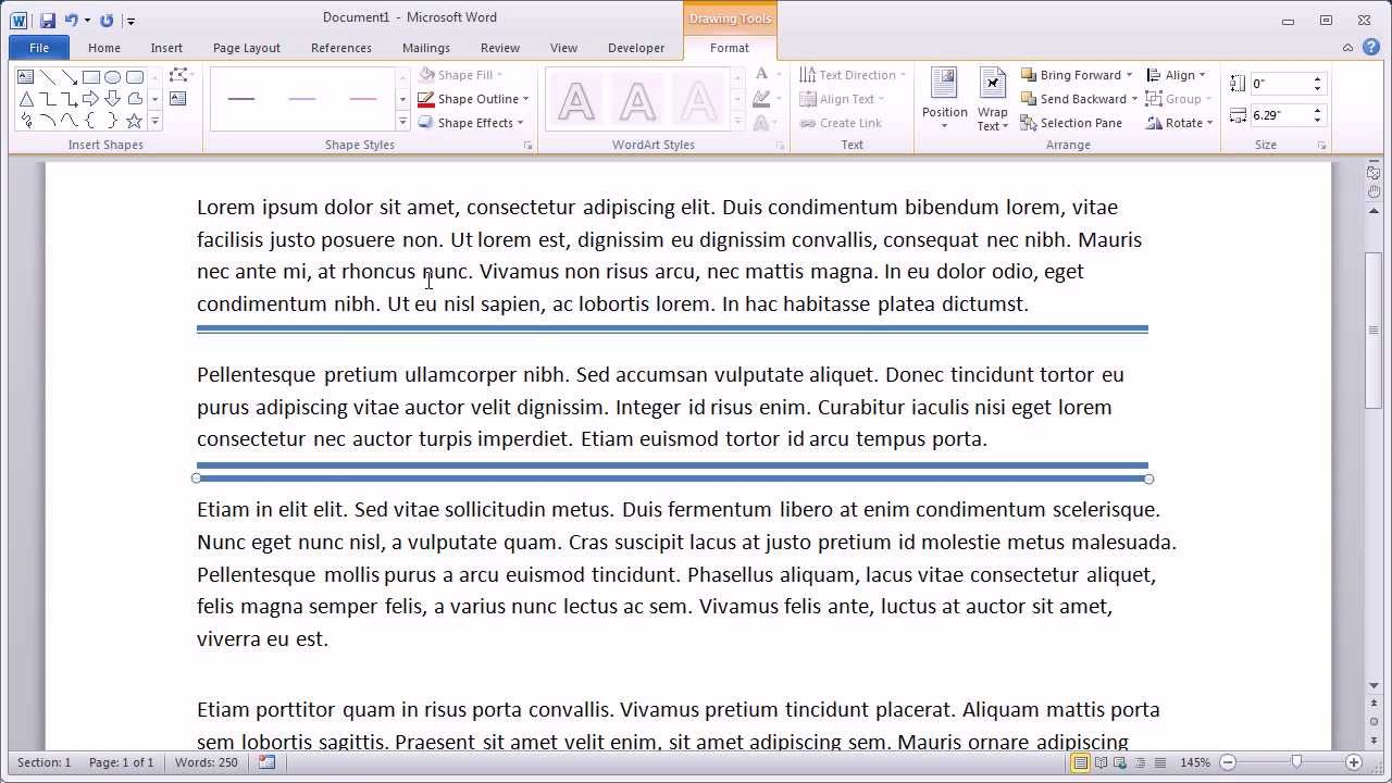 adding horizontal lines in word 2010