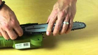 SunJoe SWJ800E Electric Pole Chain Saw:  How To Replace + Install Chain Saw Chain   Sun Joe Pole Saw