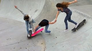 3 Girls 1 Fail - Skateboarding Triple Hand Holding Drop In Fall !?!