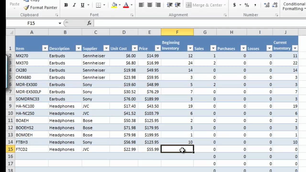 excel 2010 templates inventory .