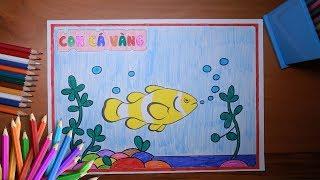Hướng dẫn bé tô màu bức tranh con Cá vàng - How to color a Gold fish - for kids
