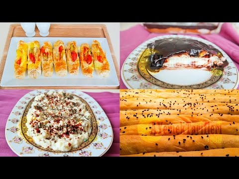 Menü 17   Patatesli Kol Böreği, Peynirli Karnıyarık Böreği, Yoğurtlu Patlıcan Salatası, Tavuk Göğsü