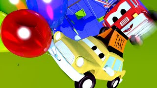 The Great Balloon RESCUE with the Baby Cars in Car City ! Street Vehicle videos Compilation