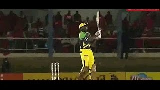 Chris Gayle score 30 runs in 1over with right hand batting style in cpl2016