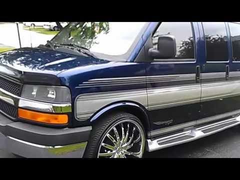 Chevy Custom Vans 2004 Chevy Express 1500 Conversion Van on 26's - YouTube