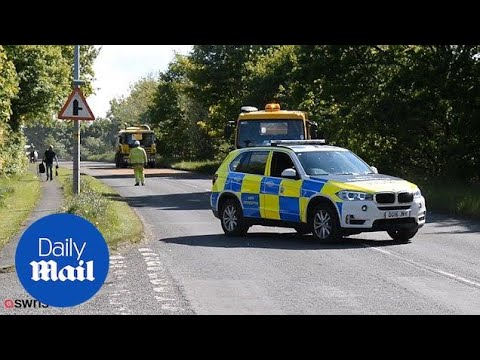 Emergency services at Cheshire country lane after crash - Daily Mail