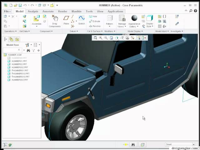 Learn Creo 1.0 - Hummer Assembly for US Army rendering in Maya