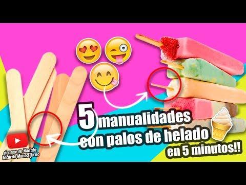 MANUALIDADES RECICLAJE|5 MANUALIDADES CON PALOS DE HELADO EN 5 MINUTOS