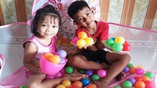 Bé học màu sắc tiếng anh với nhà bóng, bé chơi nhà bóng ❤ BiBo Kids TV ❤