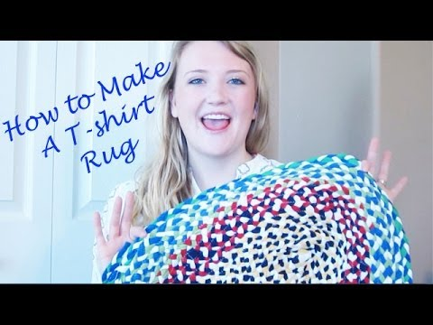 How to make a braided t shirt rug youtube for How to make rugs out of old t shirts