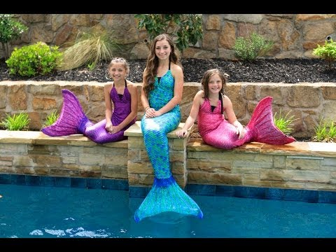Live Mermaids Swimming In Our Pool! video