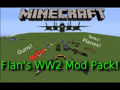 Minecraft: Flan's WW2 Mod Pack! Planes! Bombers! AA-Guns! Placeable Machine Guns! P-51!