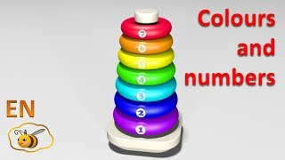 Learn colors and numbers for kids in English. Ring stacker. Cartoons for babies 1 year.