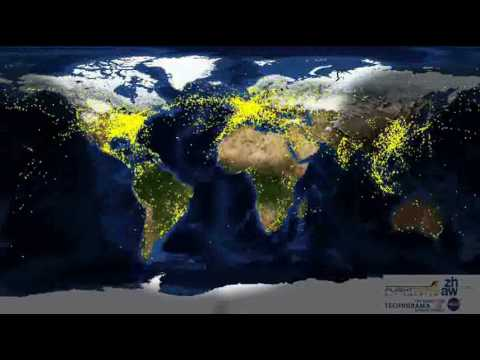 24 hrs of World Air Traffic compressed in 1 minute