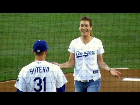Actress Kate Walsh Throws First Pitch at Dodgers 7-10-14