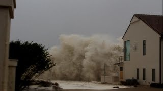 Hurricane Sandy Waves Hitting Beachfront House