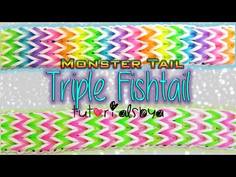 NEW Triple Fishtail MONSTER TAIL Rainbow Loom Bracelet Tutorial   How To