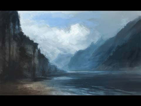 How to paint Mountain Water and Cloud Digital painting tutorial  environmental concept sketch