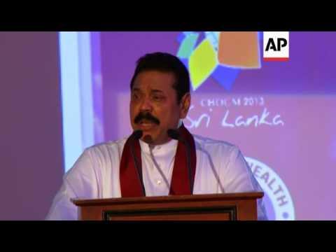 Sri Lankan president gives speech to open Commonwealth business forum
