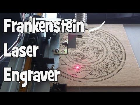 DIY Frankenstein Laser Engraver in action (Timelapse) - Celtic design engraving