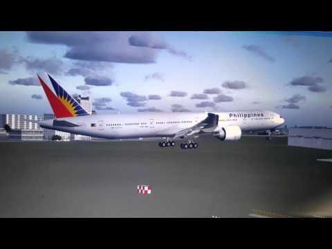 FSX Philippine Airlines flight 103 landing at Ninoy Aquino International Airport (RPLL)(MNL)