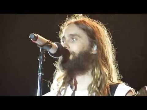 Jared Leto from 30 Seconds To Mars during the acoustic set in Bucharest, Romania - July 5, 2014
