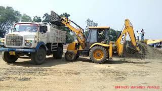 JCB 3DX loading stone in TATA Truck|| JCB 3DX risky work on road video