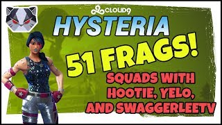 Hysteria | Fortnite Battle Royale - 51 Frag Game - Squads with Hootie, Yelo and SwaggerLeeTV