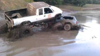 The Monster mud truck tips over while crushing an old Blazer at Eagle Mountain 2011