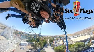 Riding rollercoasters at Six Flags Magic Mountain in California! (2018)