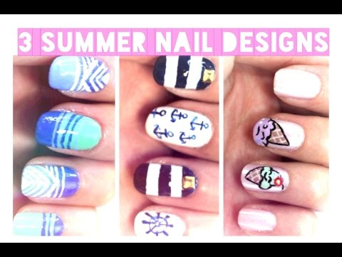 3 Summer Nail Designs: Ice Cream Cone/Nautical | Julie G