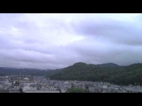 Storm clouds rush by northern Kyoto August 9 in timelapse as Typhoon No. 11 approaches.