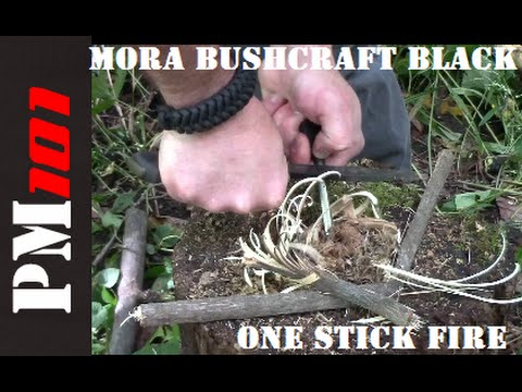 Mora Bushcraft Black: One Stick Fire Test      - Preparedmind101