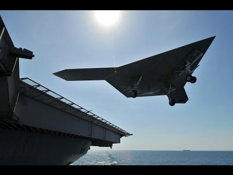 X47B First Touch And Go Landing on USS George HW Bush