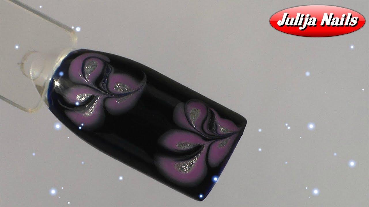 ТОП Красивый дизайн ногтей. Рисунок по мокрому 2017 новинки 21