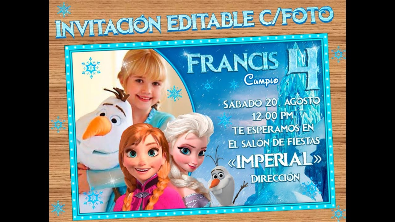 Invitacion Frozen Disney u00a1Gratis! u00a1Gratis! u00a1Gratis! YouTube