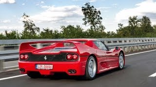 Ferrari F50 on German Autobahn - loud acceleration! HD