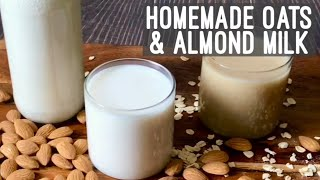 Homemade Oats & Almond Milk | Vegan Plant Milk Recipe | How to make Oats Almond Milk At Home