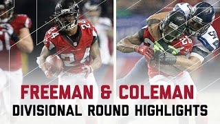 Freeman & Coleman Combine for 204 Yards!   Seahawks vs. Falcons   NFL Divisional Player Highlights