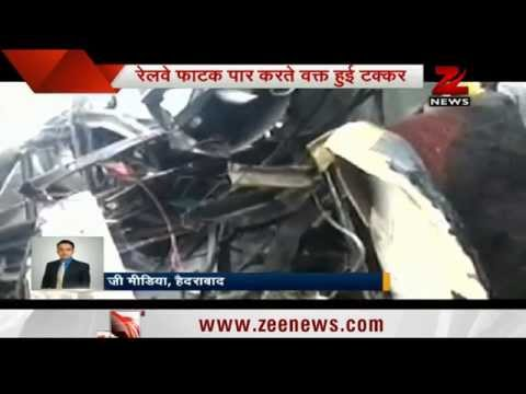 School Bus Collides With Train In Telangana video