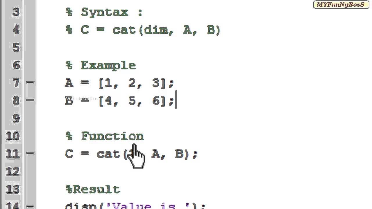 Matlab function matrix concatenation cat youtube for Table 2 matrix matlab