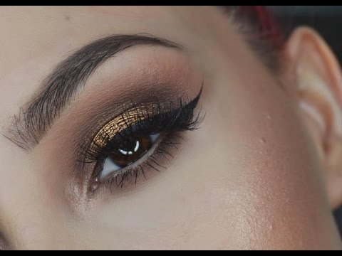 Brown And Gold Smokey Eye Makeup Tutorial   Datenight Makeup