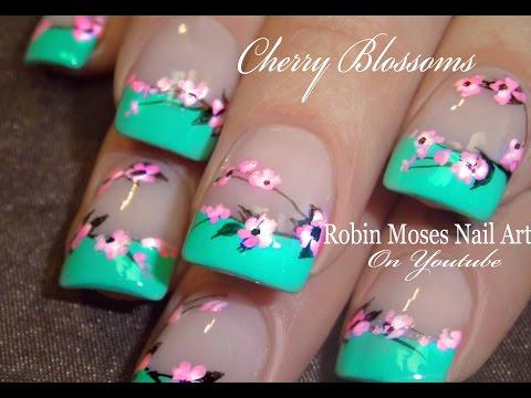 Easy Cherry Blossom Nails | Spring Flower Nail Art Design Tutorial