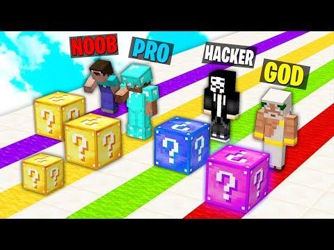 Minecraft Battle: NOOB vs PRO vs HACKER vs GOD : MEGA LUCKY BLOCK RACE Challenge in Minecraft