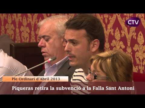 PIQUERAS RETIRA LA SUBVENCIÓ A LA FALLA SANT ANTONI