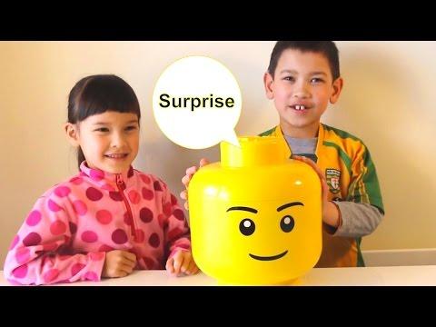 Giant Lego Smiling Face Head full of Surprise Eggs Baribe Kinder Hello Kitty Kinder Joy Toys