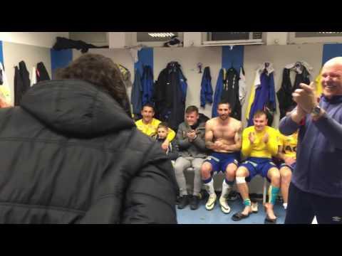 Vítězný pokřik po utkání s Jabloncem (26.11.2016)