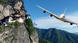 Dangerous Plane Landing - Paro Airport   Bhutan  
