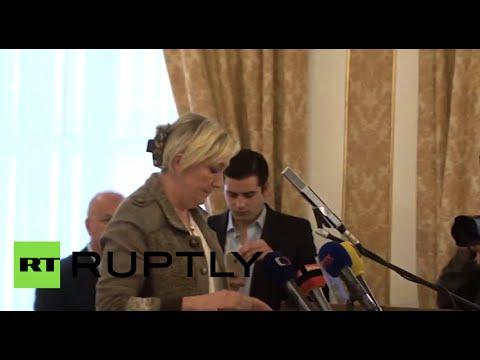 'Fascist!' Marine Le Pen heckled at Prague conference